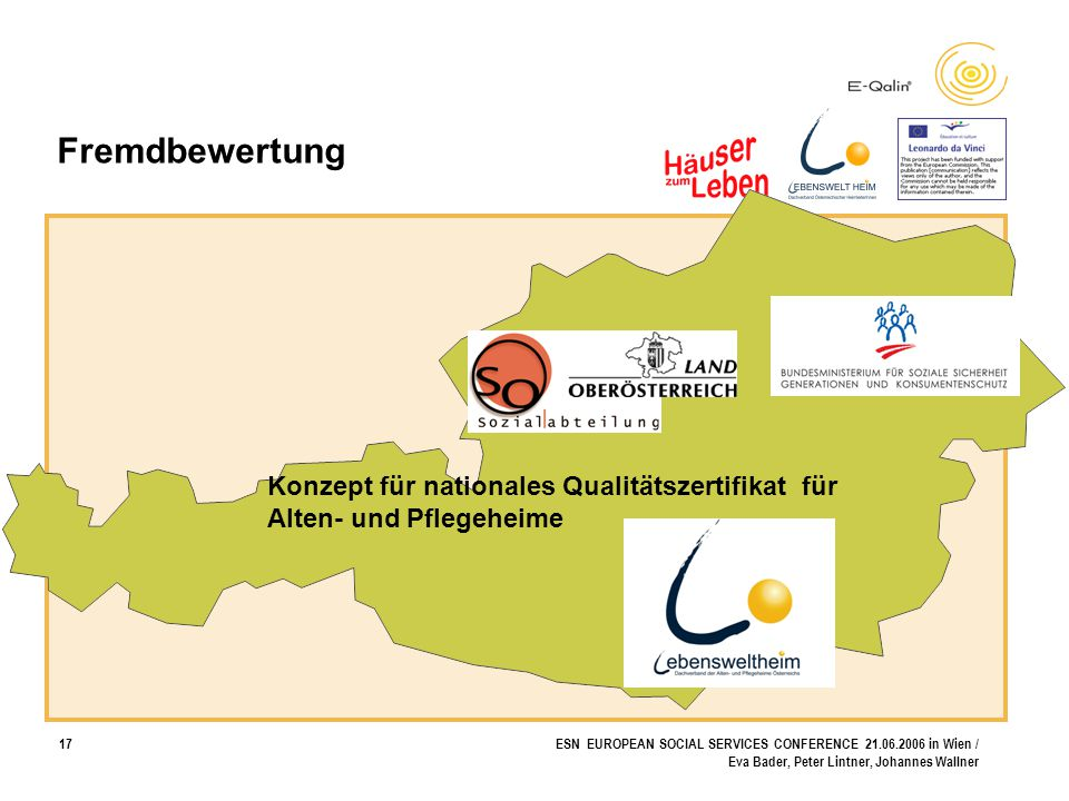 17ESN EUROPEAN SOCIAL SERVICES CONFERENCE 21.06.2006 in Wien / Eva Bader, Peter Lintner, Johannes Wallner Konzept für nationales Qualitätszertifikat f