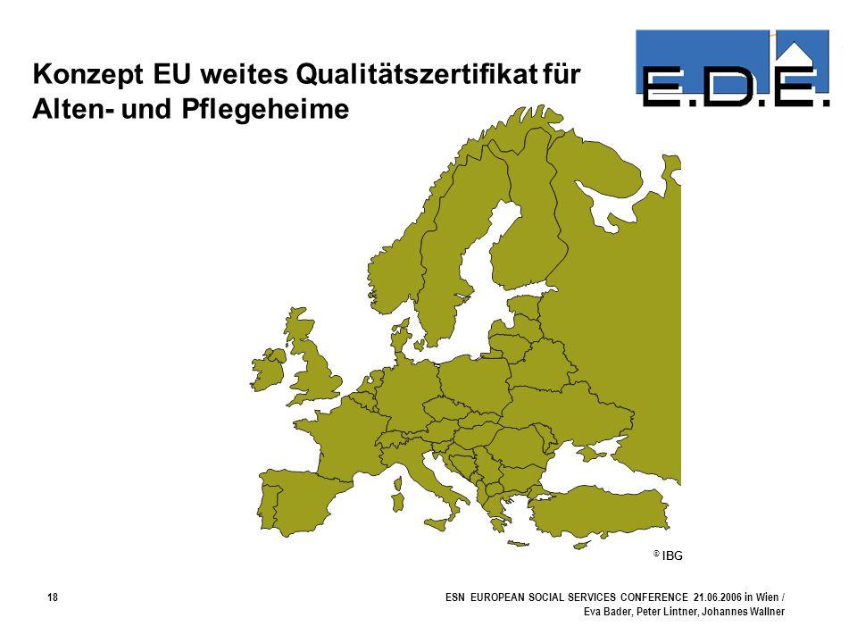18ESN EUROPEAN SOCIAL SERVICES CONFERENCE 21.06.2006 in Wien / Eva Bader, Peter Lintner, Johannes Wallner Konzept EU weites Qualitätszertifikat für Al