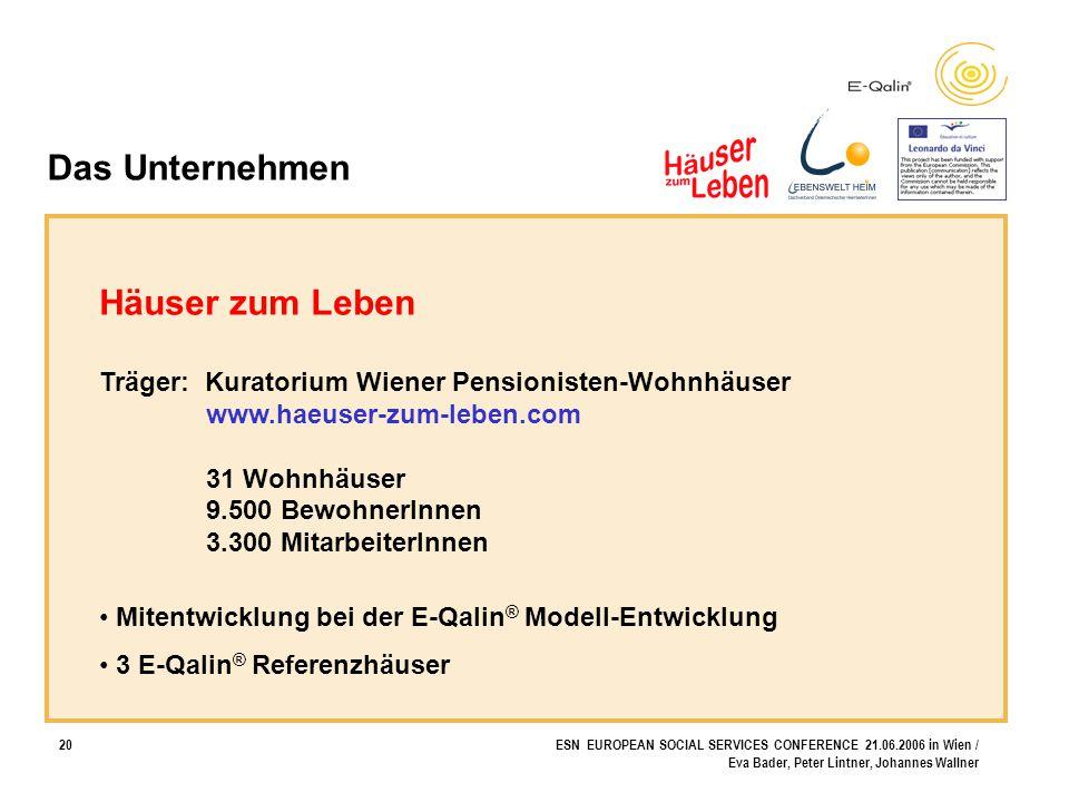 20ESN EUROPEAN SOCIAL SERVICES CONFERENCE 21.06.2006 in Wien / Eva Bader, Peter Lintner, Johannes Wallner Das Unternehmen Häuser zum Leben Träger: Kur