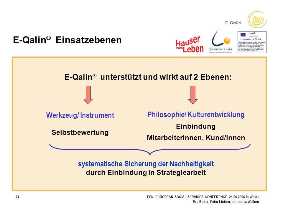 21ESN EUROPEAN SOCIAL SERVICES CONFERENCE 21.06.2006 in Wien / Eva Bader, Peter Lintner, Johannes Wallner E-Qalin ® Einsatzebenen Werkzeug/ Instrument