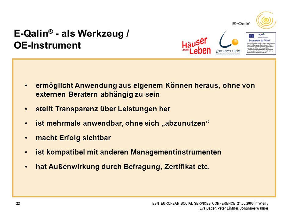 22ESN EUROPEAN SOCIAL SERVICES CONFERENCE 21.06.2006 in Wien / Eva Bader, Peter Lintner, Johannes Wallner E-Qalin ® - als Werkzeug / OE-Instrument erm
