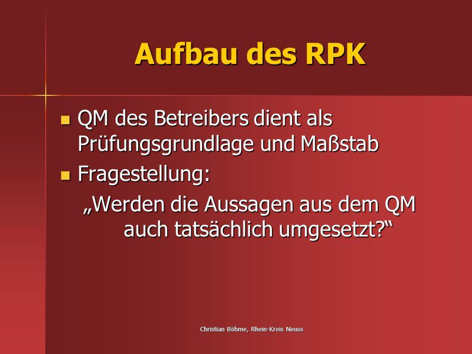 Christian Böhme, Rhein-Kreis Neuss Aufbau des RPK QM des Betreibers dient als Prüfungsgrundlage und Maßstab QM des Betreibers dient als Prüfungsgrundl