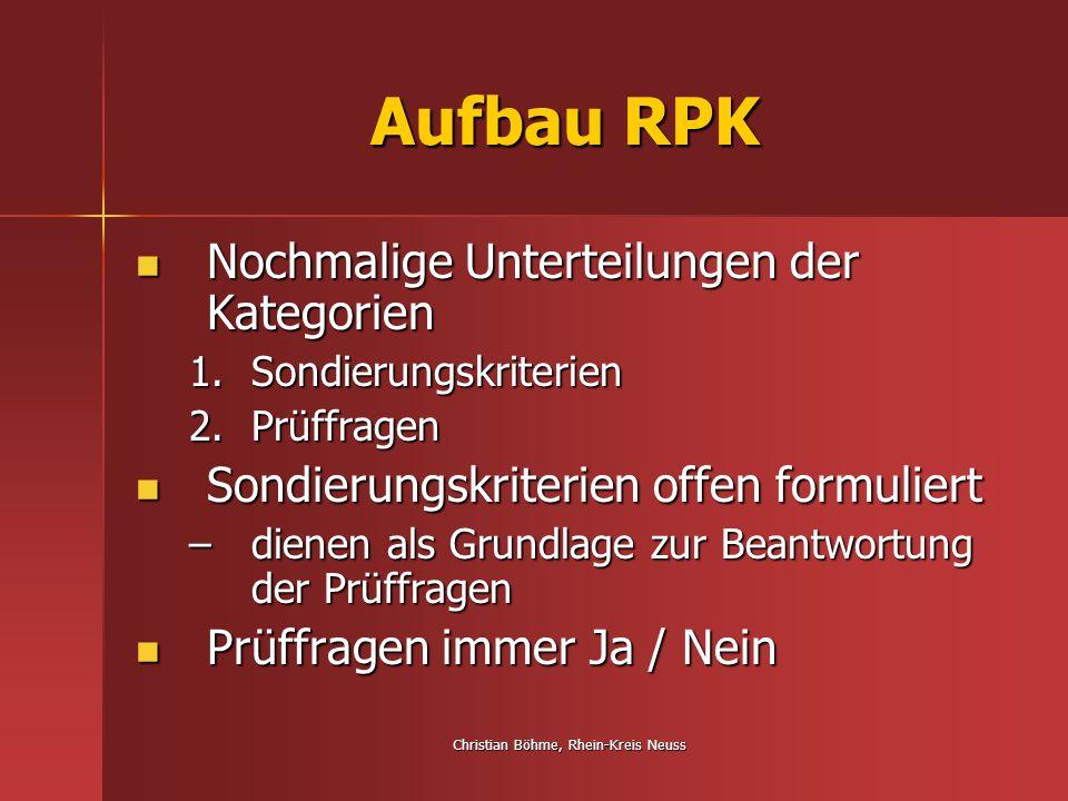 Christian Böhme, Rhein-Kreis Neuss Aufbau RPK Nochmalige Unterteilungen der Kategorien Nochmalige Unterteilungen der Kategorien 1.Sondierungskriterien