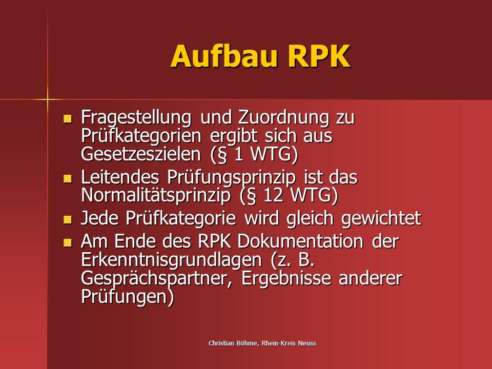 Christian Böhme, Rhein-Kreis Neuss Aufbau RPK Fragestellung und Zuordnung zu Prüfkategorien ergibt sich aus Gesetzeszielen (§ 1 WTG) Fragestellung und