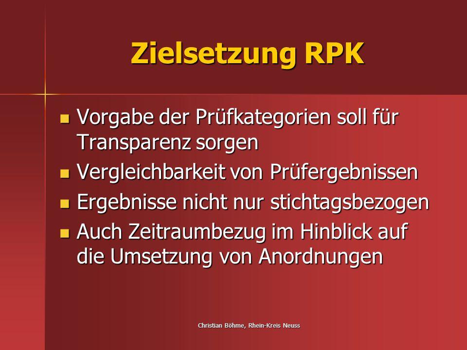 Christian Böhme, Rhein-Kreis Neuss Aufbau RPK RPK enthält 7 Prüfkategorien: RPK enthält 7 Prüfkategorien: 1.Qualitätsmanagement 2.Personelle Ausstattung 3.Wohnqualität 4.Hauswirtschaftliche Versorgung 5.Gemeinschaftsleben / Alltagsgestaltung 6.Pflege und soziale Betreuung 7.Kundeninformation, Beratung, Mitwirkung und Mitbestimmung