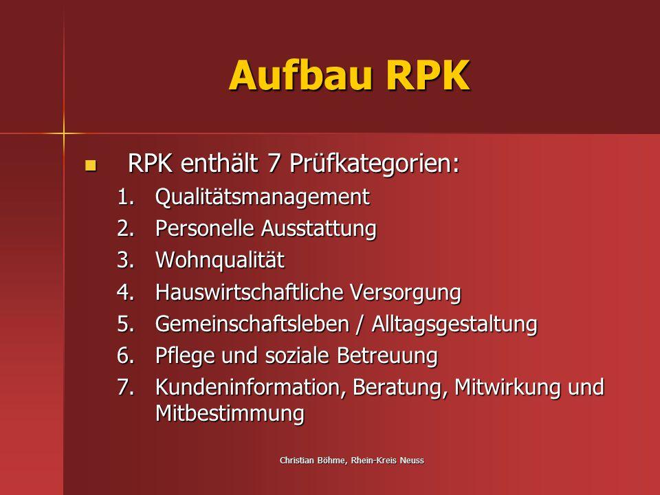Christian Böhme, Rhein-Kreis Neuss Aufbau RPK RPK enthält 7 Prüfkategorien: RPK enthält 7 Prüfkategorien: 1.Qualitätsmanagement 2.Personelle Ausstattu