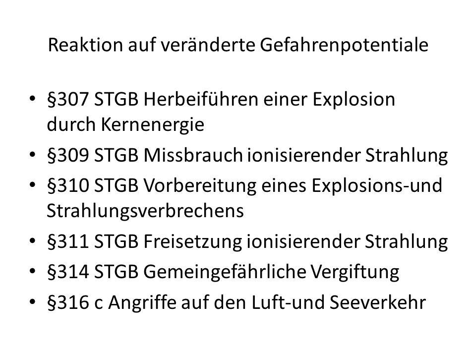 Reaktion auf veränderte Gefahrenpotentiale §307 STGB Herbeiführen einer Explosion durch Kernenergie §309 STGB Missbrauch ionisierender Strahlung §310