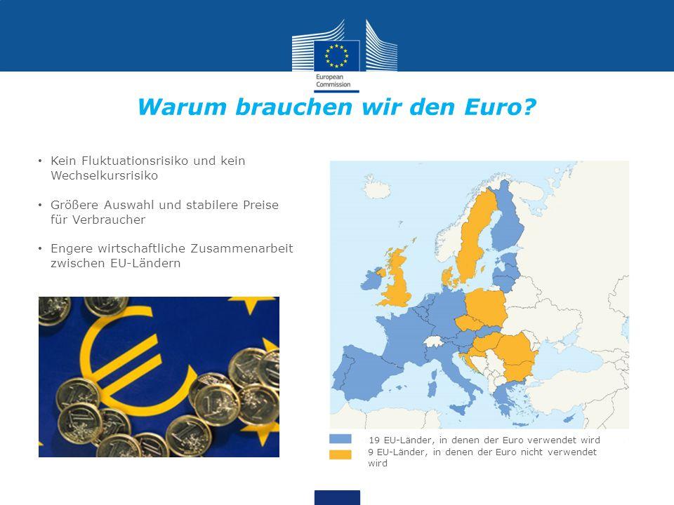 19 EU-Länder, in denen der Euro verwendet wird 9 EU-Länder, in denen der Euro nicht verwendet wird Kein Fluktuationsrisiko und kein Wechselkursrisiko Größere Auswahl und stabilere Preise für Verbraucher Engere wirtschaftliche Zusammenarbeit zwischen EU-Ländern Warum brauchen wir den Euro?