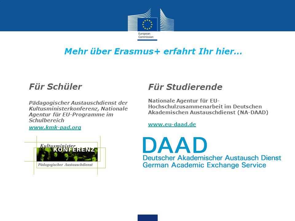 Mehr über Erasmus+ erfahrt Ihr hier… Für Schüler Pädagogischer Austauschdienst der Kultusministerkonferenz, Nationale Agentur für EU-Programme im Schulbereich www.kmk-pad.org Für Studierende Nationale Agentur für EU- Hochschulzusammenarbeit im Deutschen Akademischen Austauschdienst (NA-DAAD) www.eu-daad.de