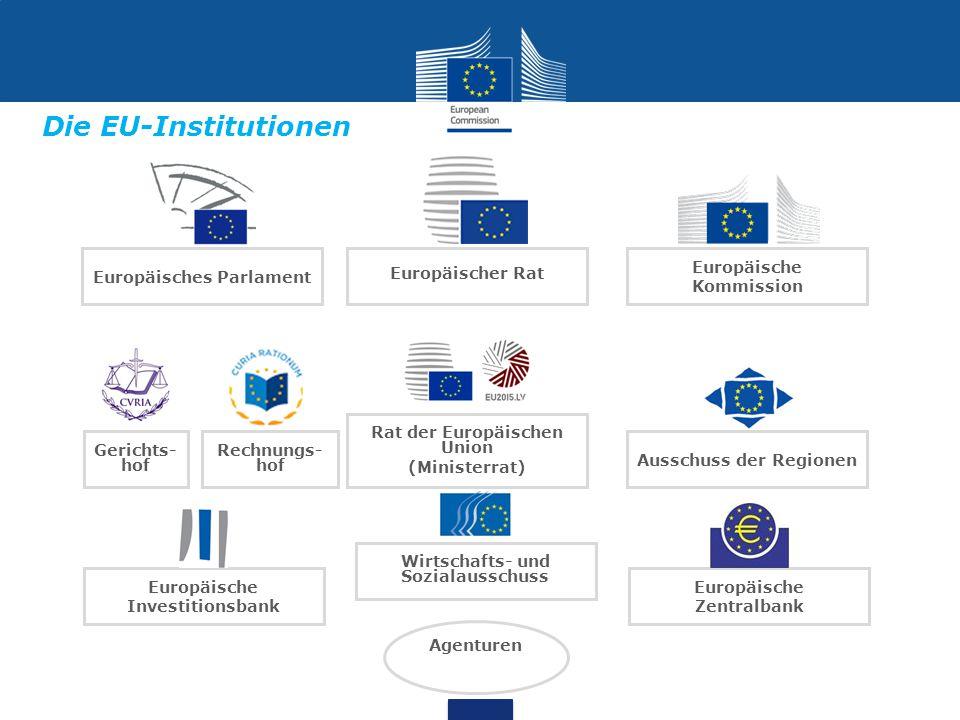 Europäisches Parlament Gerichts- hof Rechnungs- hof Wirtschafts- und Sozialausschuss Ausschuss der Regionen Rat der Europäischen Union (Ministerrat) Europäische Kommission Europäische Investitionsbank Europäische Zentralbank Agenturen Europäischer Rat Die EU-Institutionen
