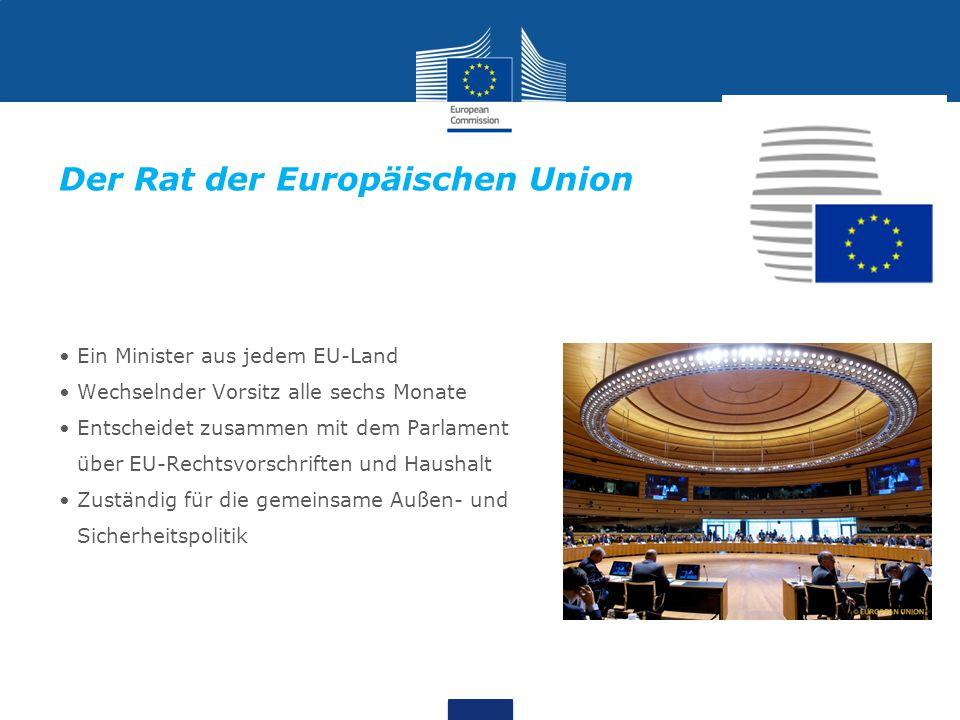 Ein Minister aus jedem EU-Land Wechselnder Vorsitz alle sechs Monate Entscheidet zusammen mit dem Parlament über EU-Rechtsvorschriften und Haushalt Zu