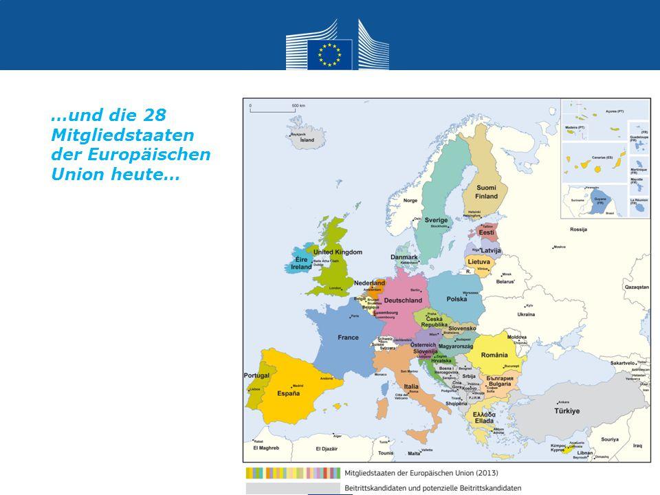 Europäische Gemeinschaft für Kohle und Stahl Römische Verträge Europäischen Wirtschaftsgemeinschaft Europäischen Atomgemeinschaft (EURATOM) Einheitliche Europäische Akte: der Binnenmarkt Vertrag zur Europäischen Union – Maastrichter Vertrag Vertrag von Amsterdam 1952 1958 1987 1993 1999 2003 Vertrag von Nizza 2009 Vertrag von Lissabon Die Verträge – vom Schuman-Plan nach Lissabon