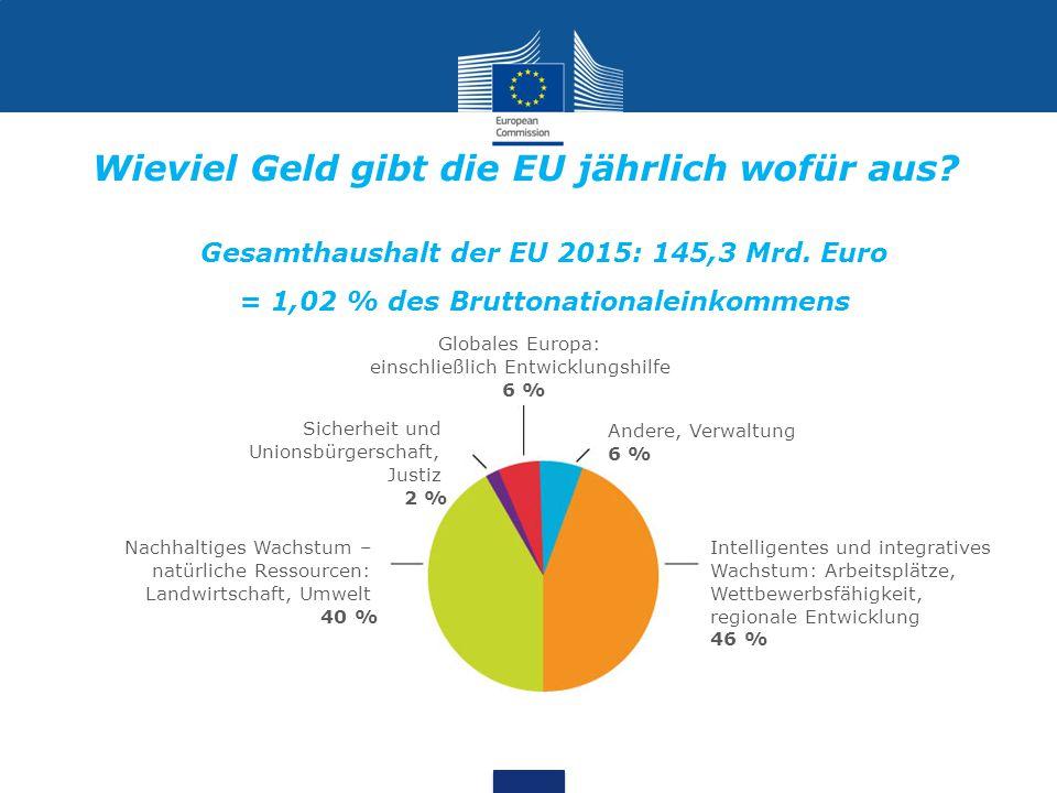 Gesamthaushalt der EU 2015: 145,3 Mrd. Euro = 1,02 % des Bruttonationaleinkommens Globales Europa: einschließlich Entwicklungshilfe 6 % Andere, Verwal