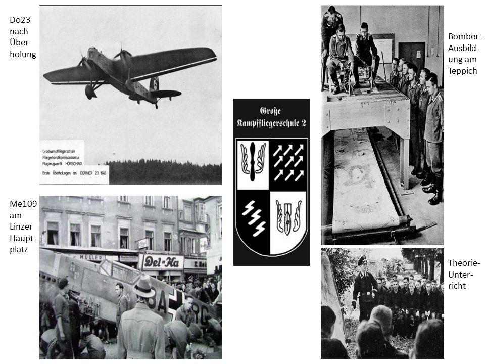 Me109 am Linzer Haupt- platz Do23 nach Über- holung Bomber- Ausbild- ung am Teppich Theorie- Unter- richt