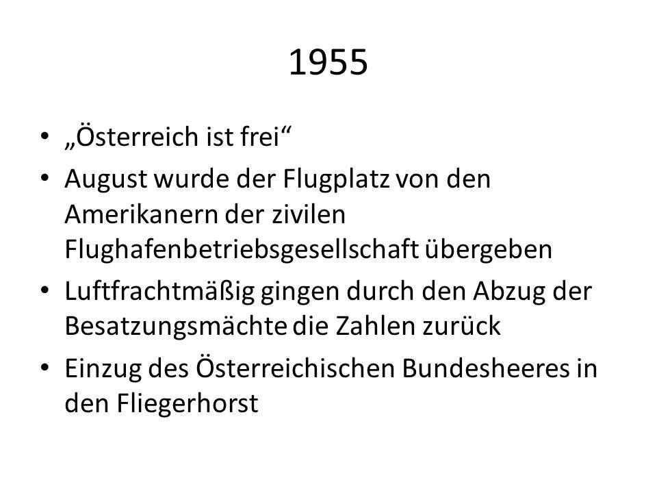 """1955 """"Österreich ist frei"""" August wurde der Flugplatz von den Amerikanern der zivilen Flughafenbetriebsgesellschaft übergeben Luftfrachtmäßig gingen d"""