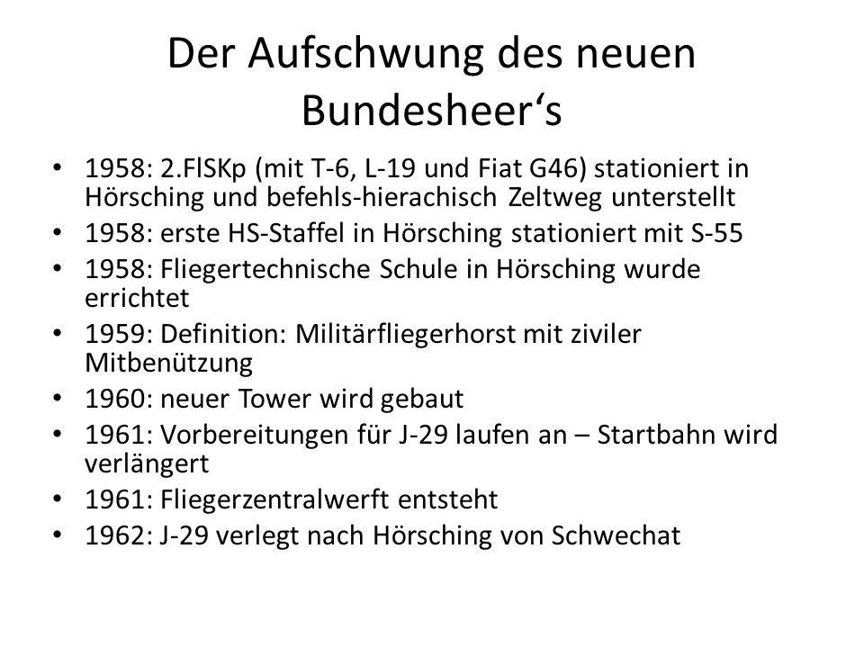 Der Aufschwung des neuen Bundesheer's 1958: 2.FlSKp (mit T-6, L-19 und Fiat G46) stationiert in Hörsching und befehls-hierachisch Zeltweg unterstellt