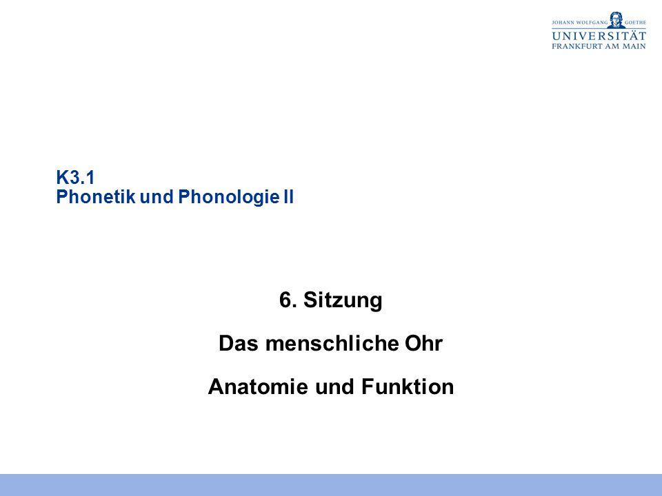 K3.1 Phonetik und Phonologie II 6. Sitzung Das menschliche Ohr Anatomie und Funktion