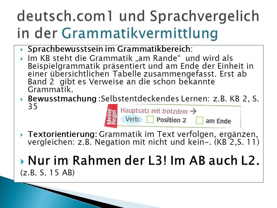 """ Sprachbewusstsein im Grammatikbereich:  Im KB steht die Grammatik """"am Rande"""" und wird als Beispielgrammatik präsentiert und am Ende der Einheit in"""