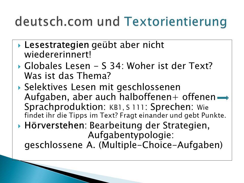  Lesestrategien geübt aber nicht wiedererinnert!  Globales Lesen - S 34: Woher ist der Text? Was ist das Thema?  Selektives Lesen mit geschlossenen