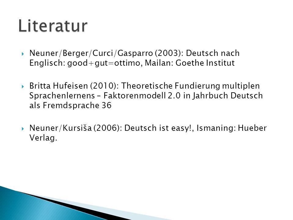  Neuner/Berger/Curci/Gasparro (2003): Deutsch nach Englisch: good+gut=ottimo, Mailan: Goethe Institut  Britta Hufeisen (2010): Theoretische Fundieru