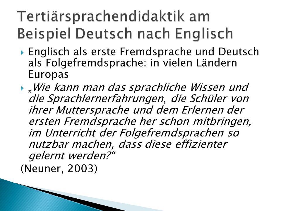 """ Englisch als erste Fremdsprache und Deutsch als Folgefremdsprache: in vielen Ländern Europas  """"Wie kann man das sprachliche Wissen und die Sprachle"""