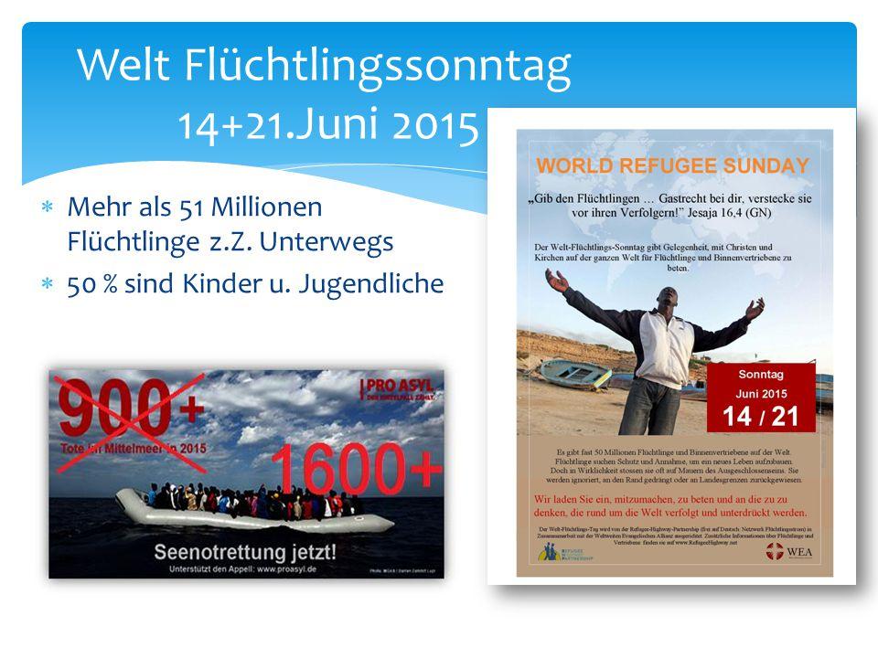  Mehr als 51 Millionen Flüchtlinge z.Z. Unterwegs  50 % sind Kinder u. Jugendliche Welt Flüchtlingssonntag 14+21.Juni 2015