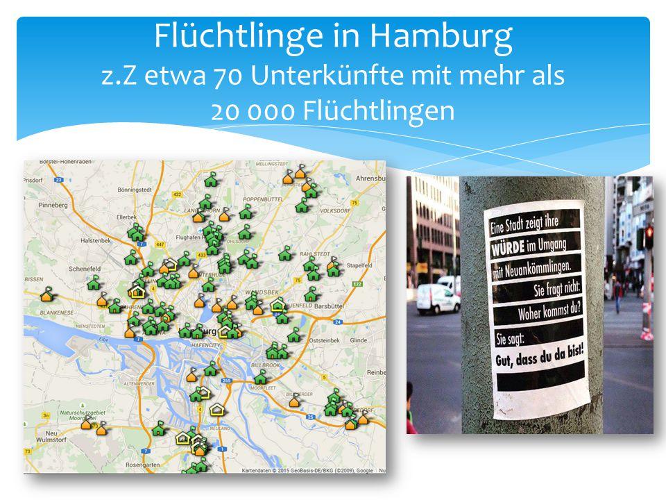 Flüchtlinge in Hamburg z.Z etwa 70 Unterkünfte mit mehr als 20 000 Flüchtlingen