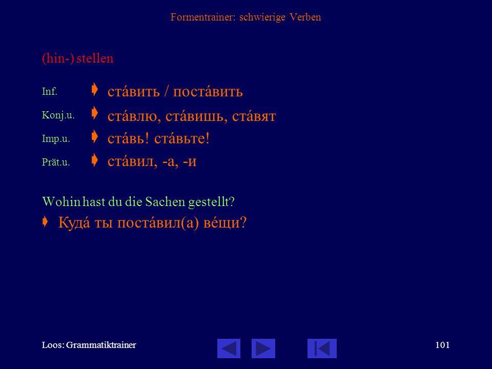 Loos: Grammatiktrainer100 Formentrainer: schwierige Verben eintreten (in eine Institution) Inf.  Konj.u.  Konj.v.  Imp.u.  Imp.v.  Prät.u.  Prät