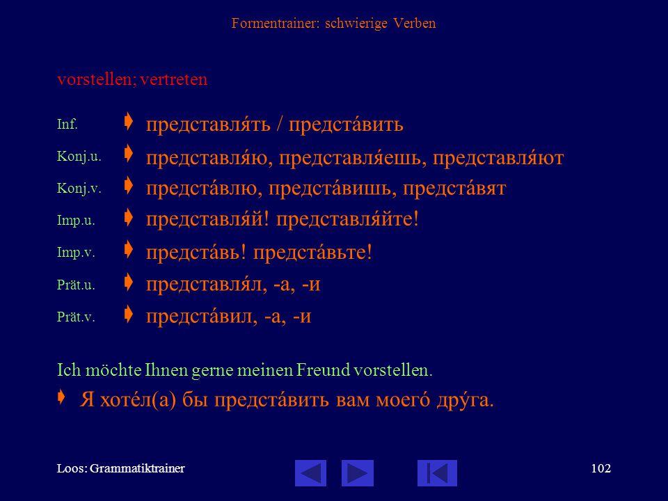 Loos: Grammatiktrainer101 Formentrainer: schwierige Verben (hin-) stellen Inf.  Konj.u.  Imp.u.  Prät.u.  Wohin hast du die Sachen gestellt?  стà