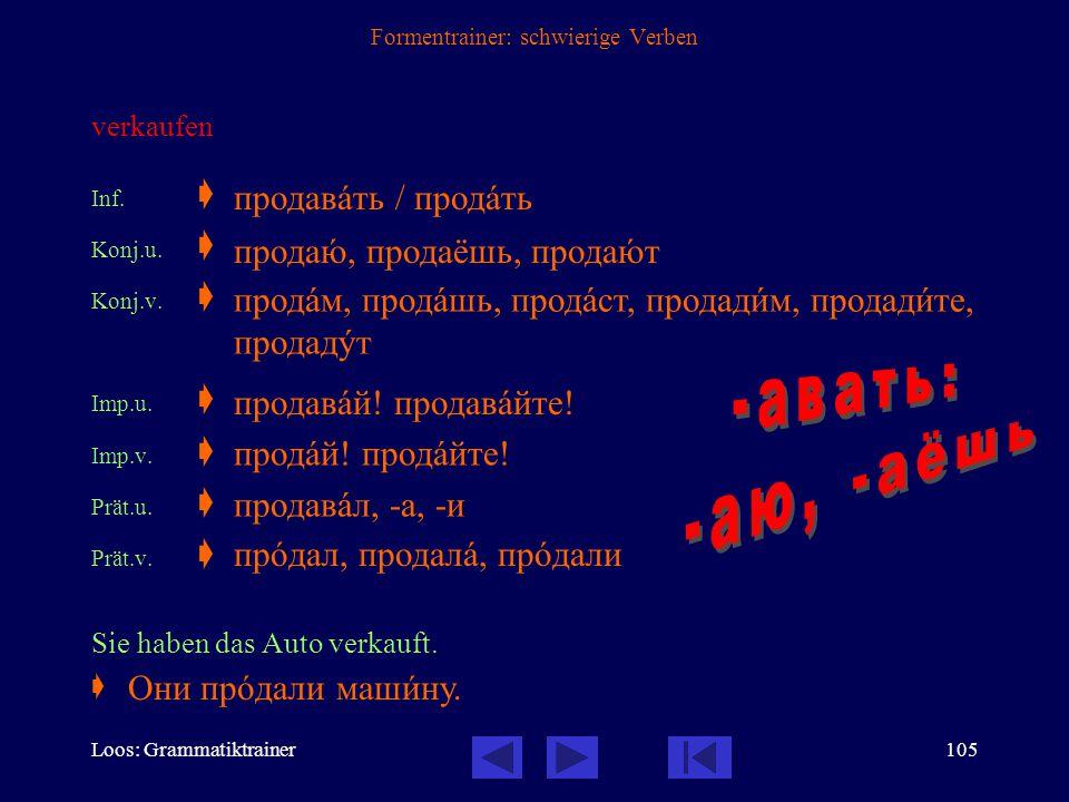 Loos: Grammatiktrainer104 Formentrainer: schwierige Verben (zu Fuß) kommen  präfigiertes Verb der Fortbewegung, daher unvollendet und vollendet Inf.