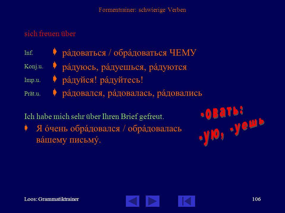 Loos: Grammatiktrainer105 Formentrainer: schwierige Verben verkaufen Inf.  Konj.u.  Konj.v.  Imp.u.  Imp.v.  Prät.u.  Prät.v.  Sie haben das Au