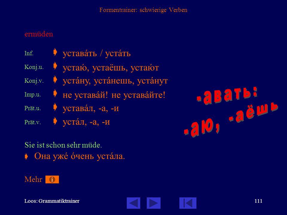 Loos: Grammatiktrainer110 Formentrainer: schwierige Verben (los-) fliegen, sich (fliegend) auf den Weg machen  mit по- präfigiertes Verb der Bewegung, daher nur vollendet Inf.v.