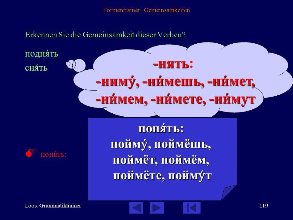 Loos: Grammatiktrainer118 Formentrainer: Gemeinsamkeiten Erkennen Sie die Gemeinsamkeit dieser Verben? быть забûть быть быть: бóду, бóдешь, бóдет, бóд