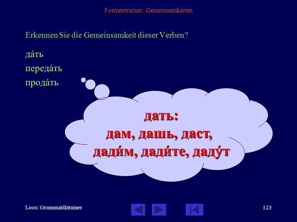 Loos: Grammatiktrainer122 Formentrainer: Gemeinsamkeiten Erkennen Sie die Gemeinsamkeit dieser Verben? давàть передавàть продавàть узнавàть уставàть -