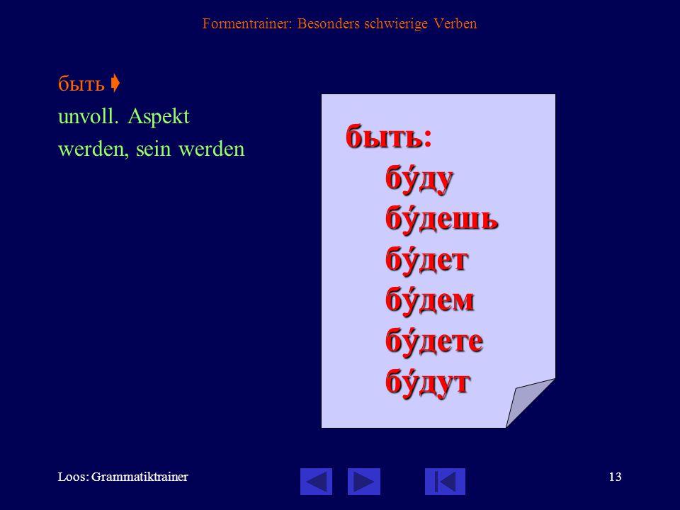 Loos: Grammatiktrainer12 Formentrainer: Besonders schwierige Verben взять  voll. Aspekt nehmen взять: взять: возьмó возьмёшьвозьмётвозьмёмвозьмёте во