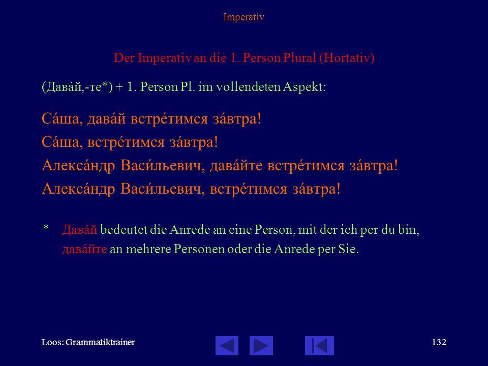 Loos: Grammatiktrainer131 Imperativ Besonderheiten: InfinitivSingularPlural вставàть  вставàй!вставàйте! aufstehen давàть  давàй! давàйте! дать  да