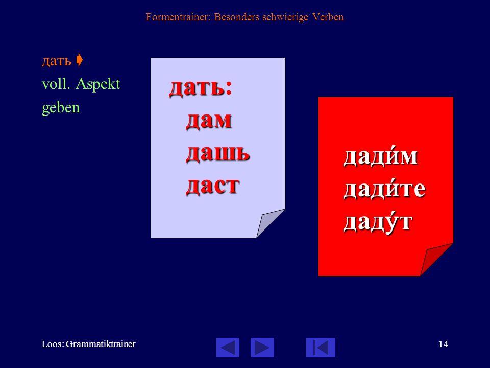 Loos: Grammatiktrainer13 Formentrainer: Besonders schwierige Verben быть  unvoll.