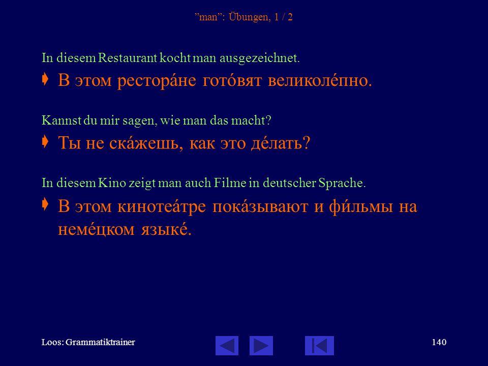 Loos: Grammatiktrainer139 man Zwei häufige Strukturen zur Wiedergabe des unpersönlichen man 1.Здесь говорÿт по-рóсски.