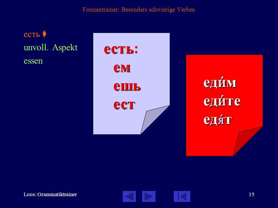 Loos: Grammatiktrainer14 Formentrainer: Besonders schwierige Verben дать  voll. Aspekt geben дать дать:дамдашьдаст дадèм дадèте дадóт