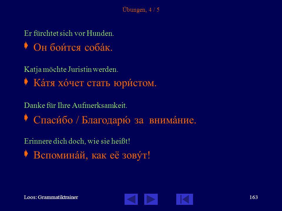 Loos: Grammatiktrainer162 Übungen, 3 / 5 Welche Sprachen lernst du?  Ich warte auf den Autobus.  Worauf wartest du? Komm endlich!  Erinnern Sie sic