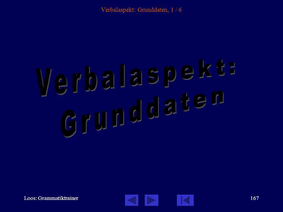 Loos: Grammatiktrainer166 Inhalt des Kapitels Verbalaspekt: Grunddaten............................................................. Die Aspektverwendu