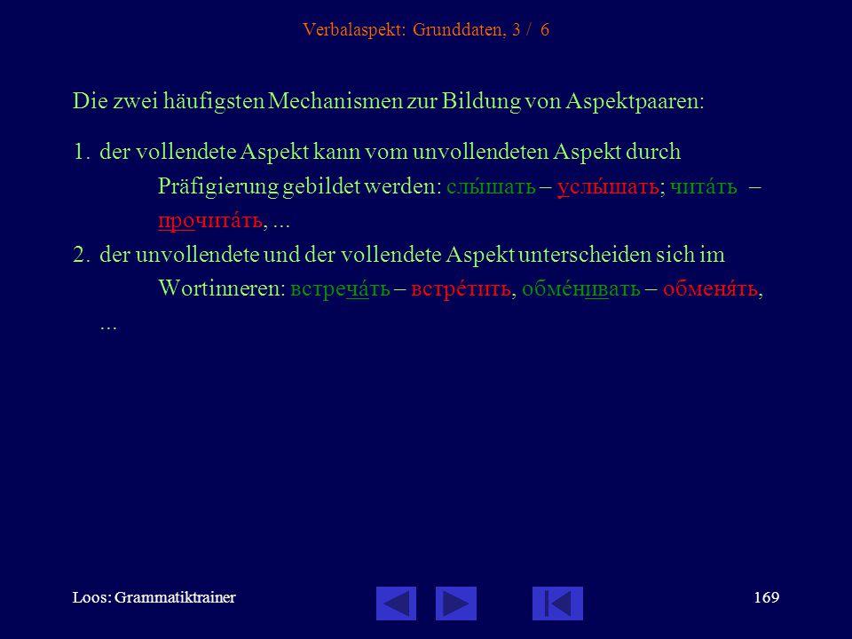 Loos: Grammatiktrainer168 Verbalaspekt: Grunddaten, 2 / 6 Fast jedes Verb hat einen unvollendeten (imperfektiven) und einen vollendeten (perfektiven) Aspekt.