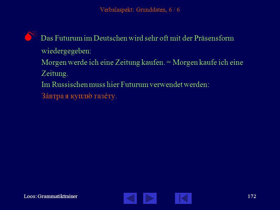 Loos: Grammatiktrainer171 Verbalaspekt: Grunddaten, 5 / 6 Der Aspekt im Präsens Im Präsens kann nur der unvollendete Aspekt verwendet werden.