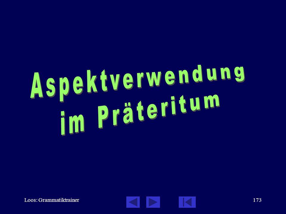 Loos: Grammatiktrainer172 Verbalaspekt: Grunddaten, 6 / 6  Das Futurum im Deutschen wird sehr oft mit der Präsensform wiedergegeben: Morgen werde ich eine Zeitung kaufen.