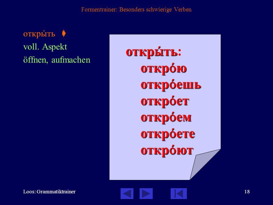 Loos: Grammatiktrainer17 Formentrainer: Besonders schwierige Verben закрûть  voll.