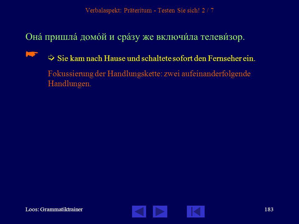 Loos: Grammatiktrainer182 Verbalaspekt: Präteritum - Testen Sie sich! 1 / 7 В канèкулы мы всегдà пîздно ложèлись спать и пîздно вставàли.   In den F