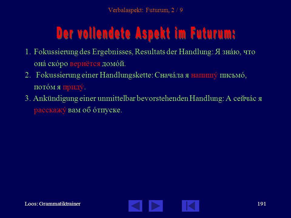 Loos: Grammatiktrainer190 Verbalaspekt: Futurum, 1 / 9 1.Fokussierung der Wiederholung der Handlung: На слåдующей недåле он кàждый день бóдет вставàть в семь часîв.