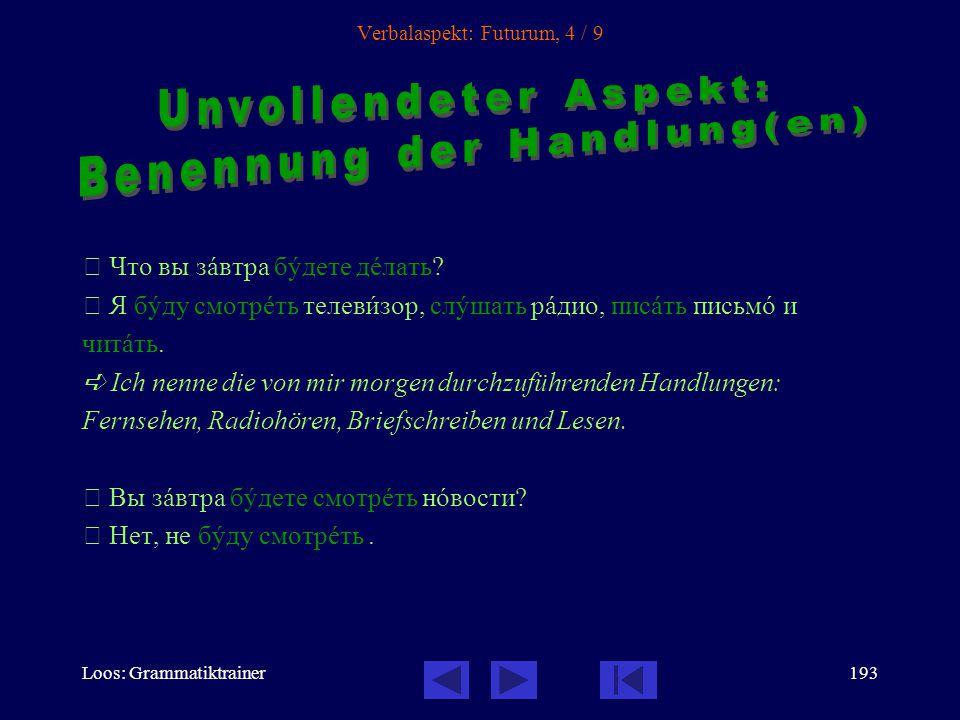 Loos: Grammatiktrainer192 Verbalaspekt: Futurum, 3 / 9 На слåдующей недåле он кàждый день бóдет вставàть в семь часîв.