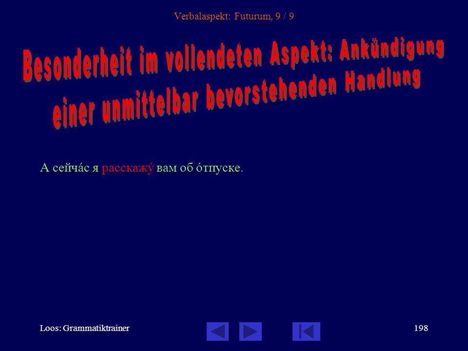 Loos: Grammatiktrainer197 Verbalaspekt: Futurum, 8 / 9 Сначàла я напишó письмî, потîм я придó. [Wenn ich den Brief geschrieben habe, komme ich. (