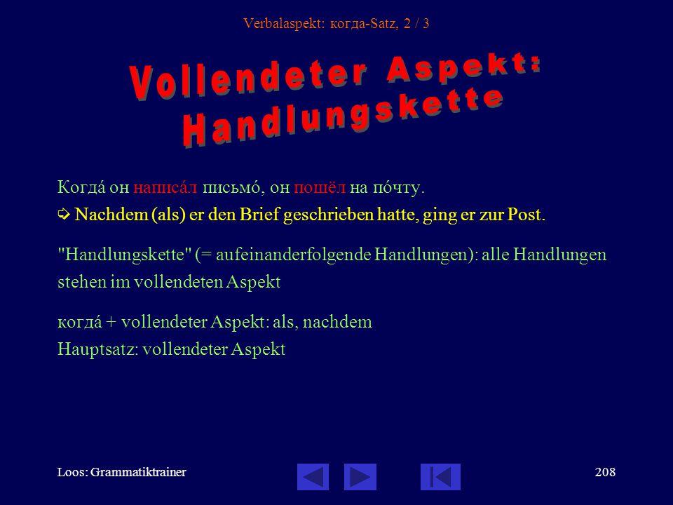 Loos: Grammatiktrainer207 Verbalaspekt: когда-Satz, 1 / 3 Когдà он писàл письмî, он слóшал мóзыку.